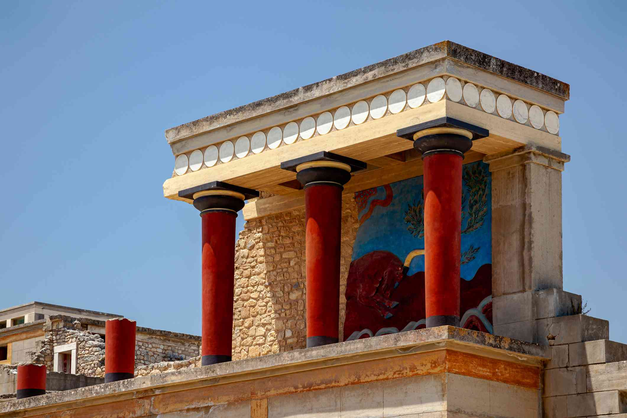 Partly reconstructed ruins of the ancient Minoan Palace of Knossos in Heraklion, Crete, Greece
