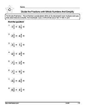 Division of fractions with mixed number workheets divide the fractions with mixed numbers worksheet pdf below ibookread Download