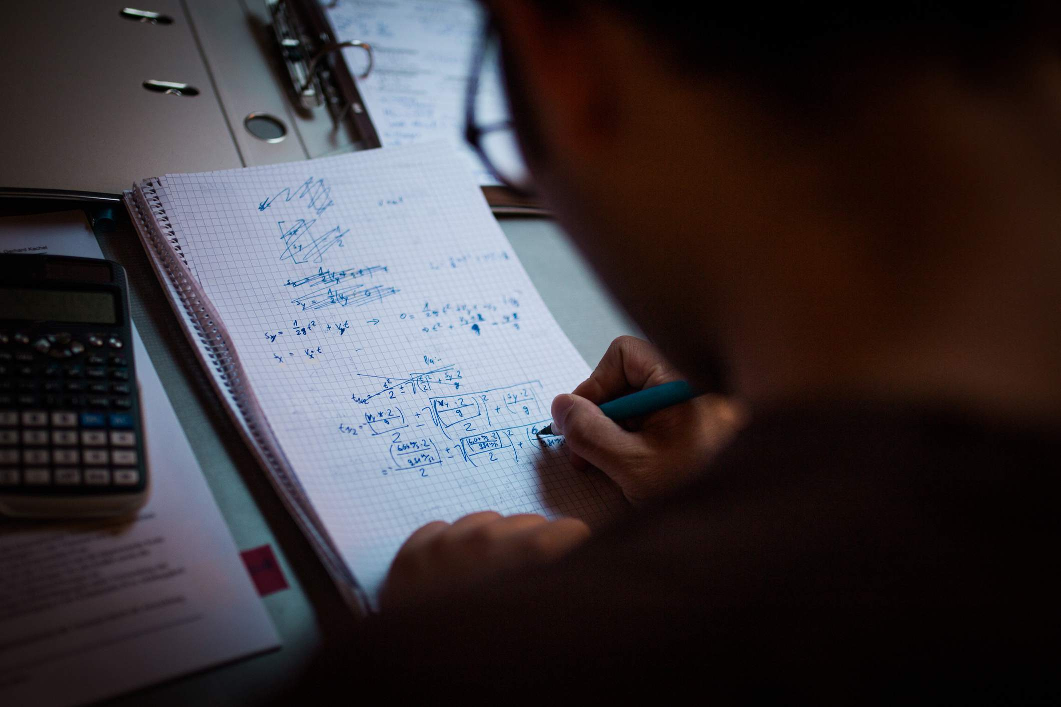 Young Man learning Math and Physics