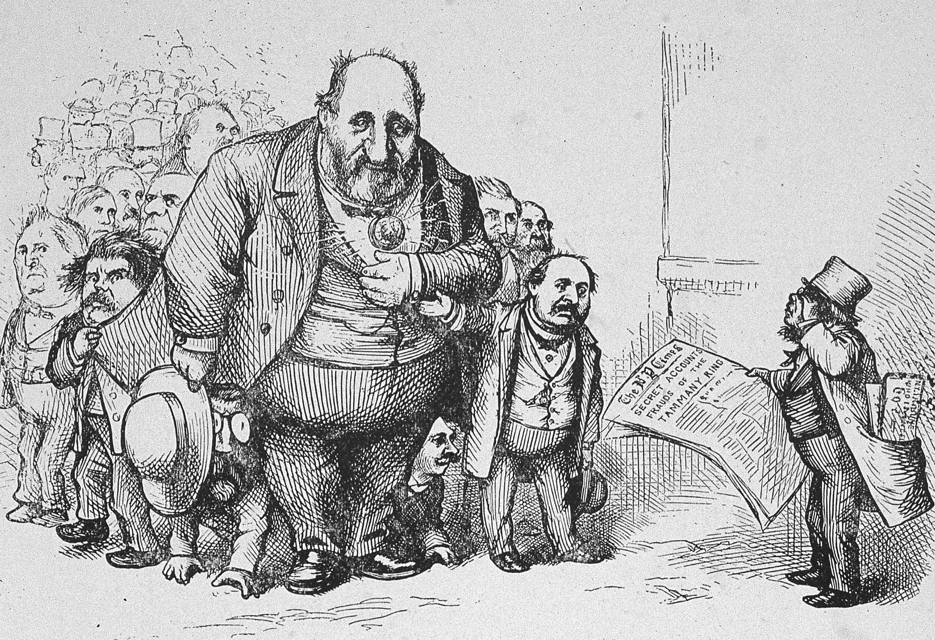 Thomas Nast's cartoon showing New York Times reader confronting Boss Tweed.
