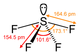 Sulfur tetrafluoride has a steric number of 5.