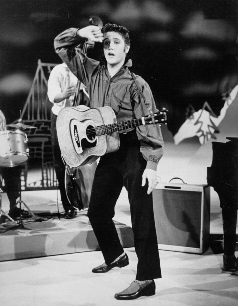 Elvis Presley singing on the Ed Sullivan Show in 1956.