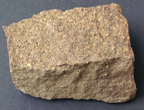 This sandstone consists of a mixture of grains of sand, silt, and clay particles