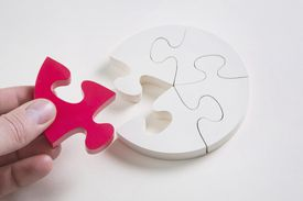 colored puzzle piece completing a circle