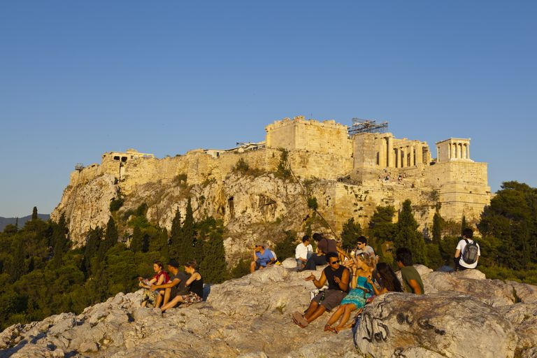 Greece, Athens, Asyrmatos District, Areopagus Rock and Acropolis