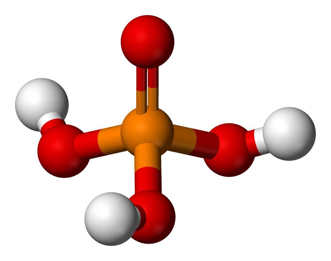 Ball and stick model of phosphoric acid.