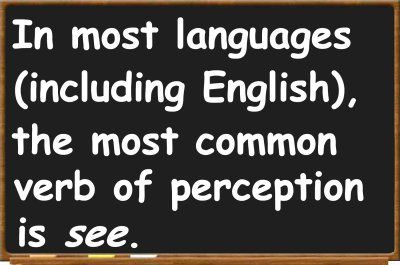 """In most languages (including English), the most common verb of perception is see."""