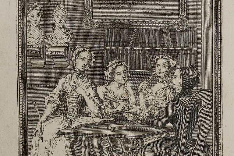 Title page of The Female Spectator, with sketch of four women leaning on a table.