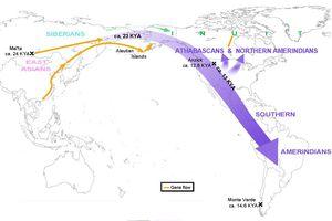 Map of Revised Beringia Timing (Raghavan et al. 2015)