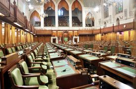 The chamber for the House of Commons in Canada's Parliament.