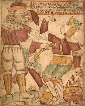 Baldr's death is portrayed in this illustration from an 18th-century Icelandic manuscript.
