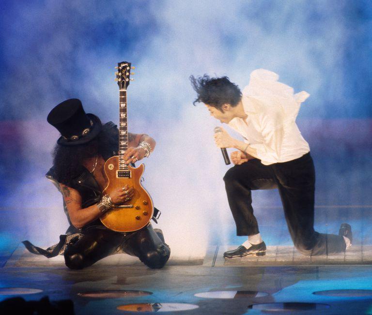 Michael Jackson and Slash onstage