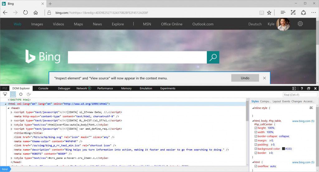 Inspect web elements in Microsoft Edge