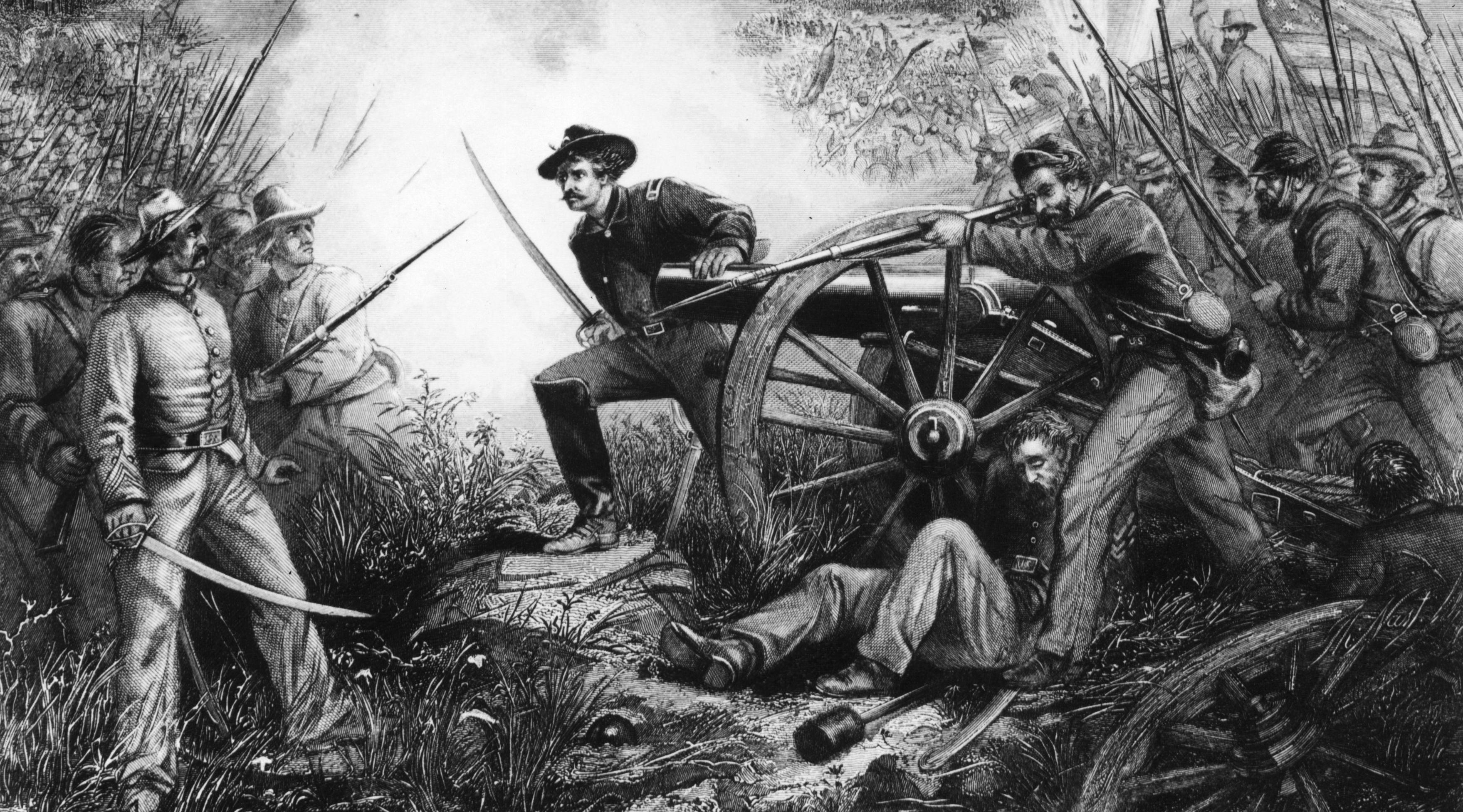 Lt. Van Pelt defending his battery in the battle of Chickamauga during the American Civil War