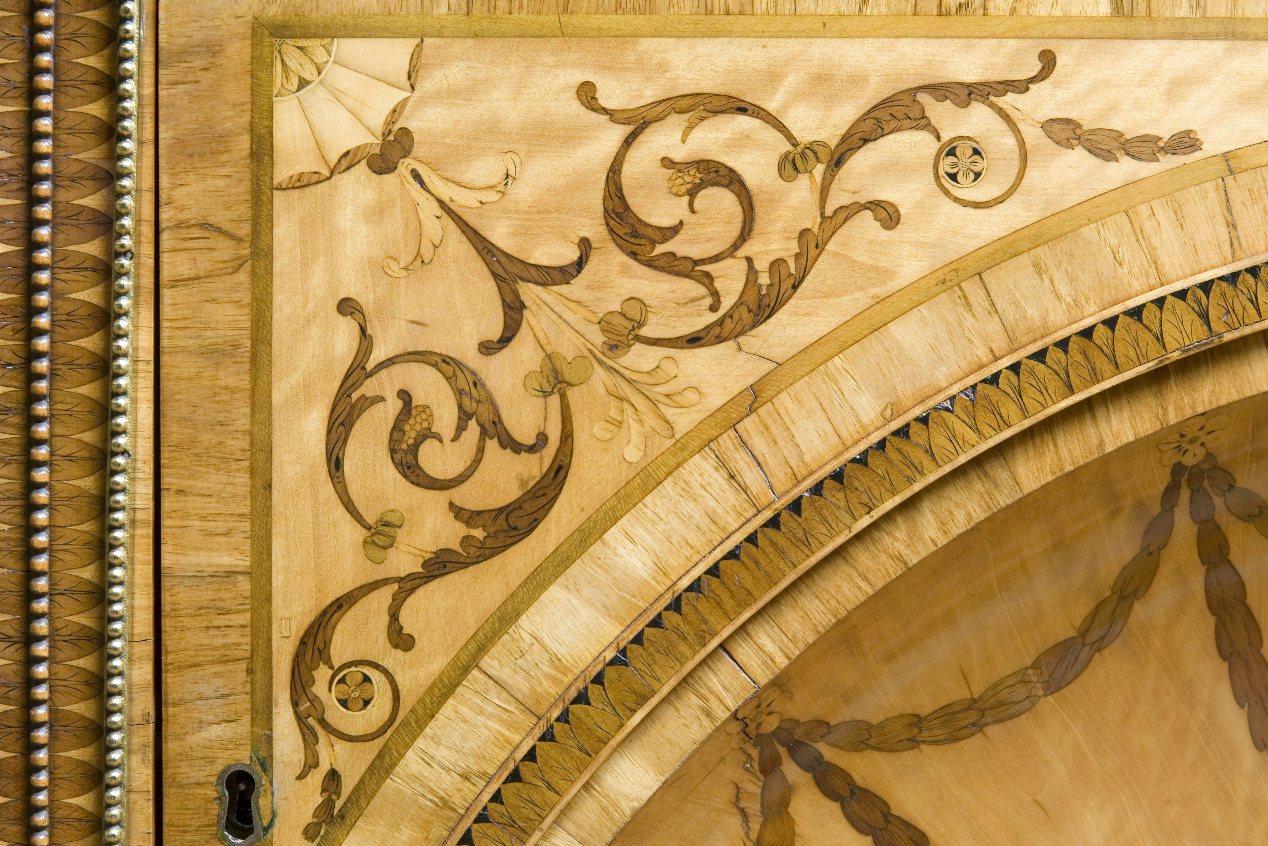 Satinwood inlay detail on the Minerva and Diana Commode, Harewood House, 1773