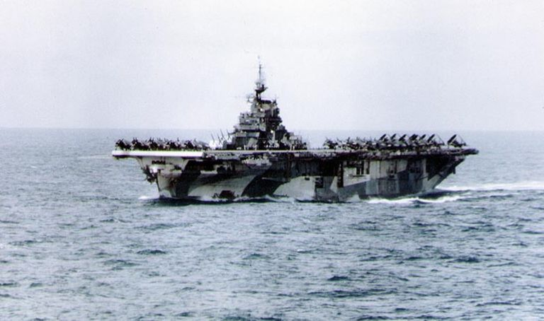 USS Hornet (CV-12) at sea during World War II