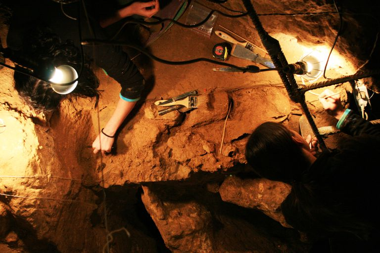 Scientists Working at the El Sidrón Cave (Spain).
