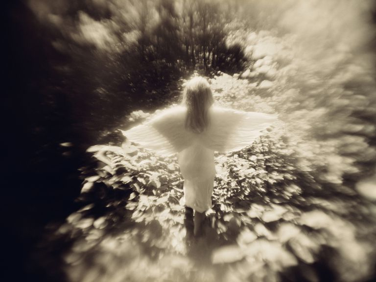 Girl in Angel Costume - Black and White Art Photo