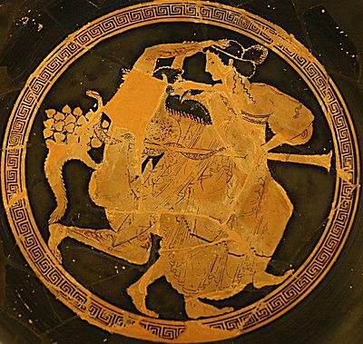 Satyr and maenad, tondo of a red-figure Attic cup, ca. 510 BC–500 B.C.
