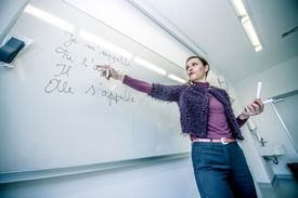 An intelligent teacher (un professeur intelligent) gives a French language lesson in front of the class