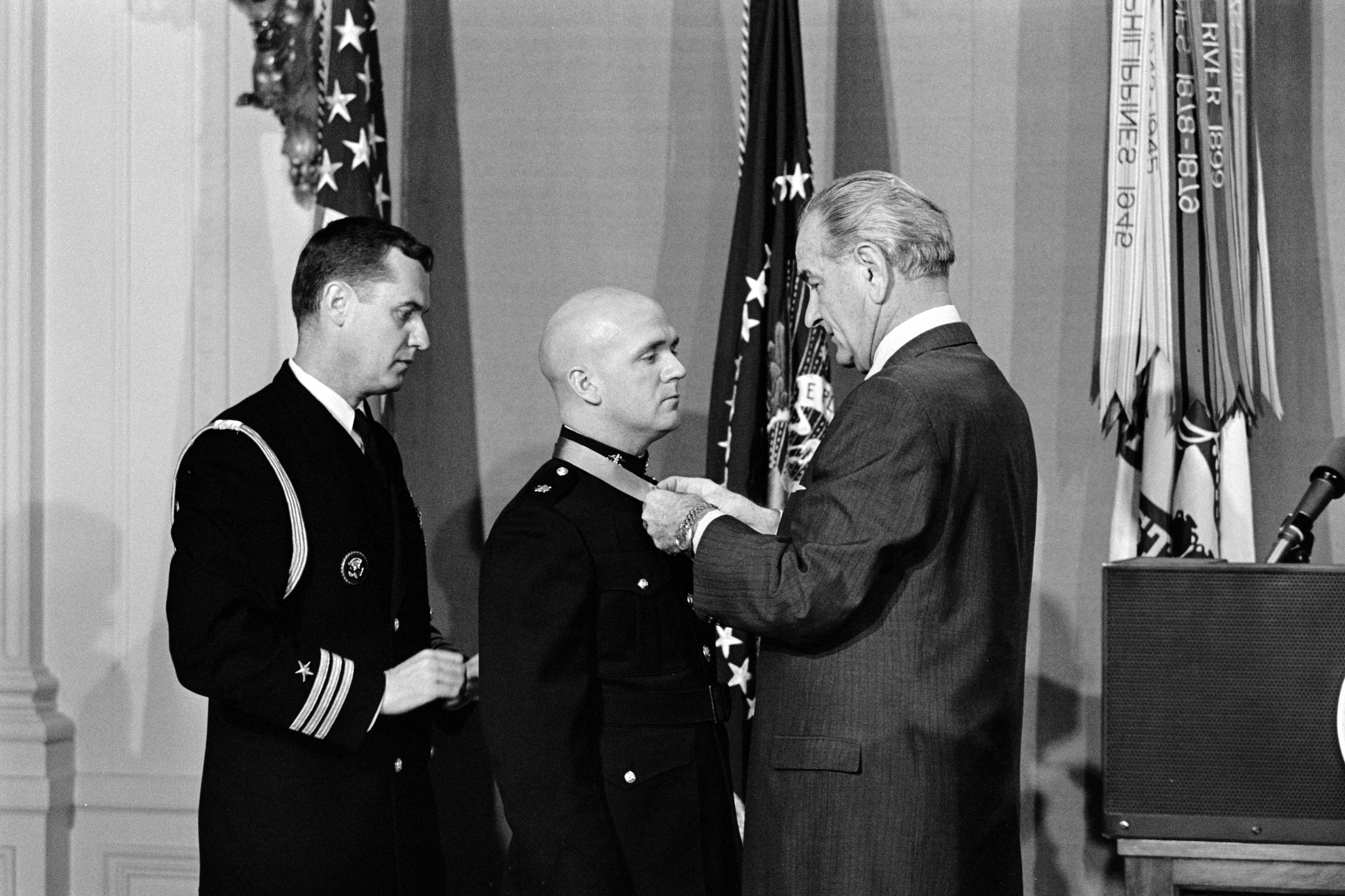 LBJ confers the Medal of Honor on a U.S. Marine.