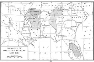 Map detailing the removal of Southern tribes of Native Americans between 1830 and 1834.