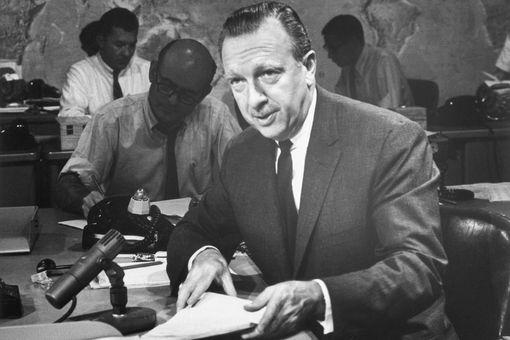 Walter Cronkite at the CBS News anchor desk