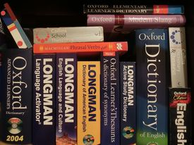 English dictionaries stacked together.