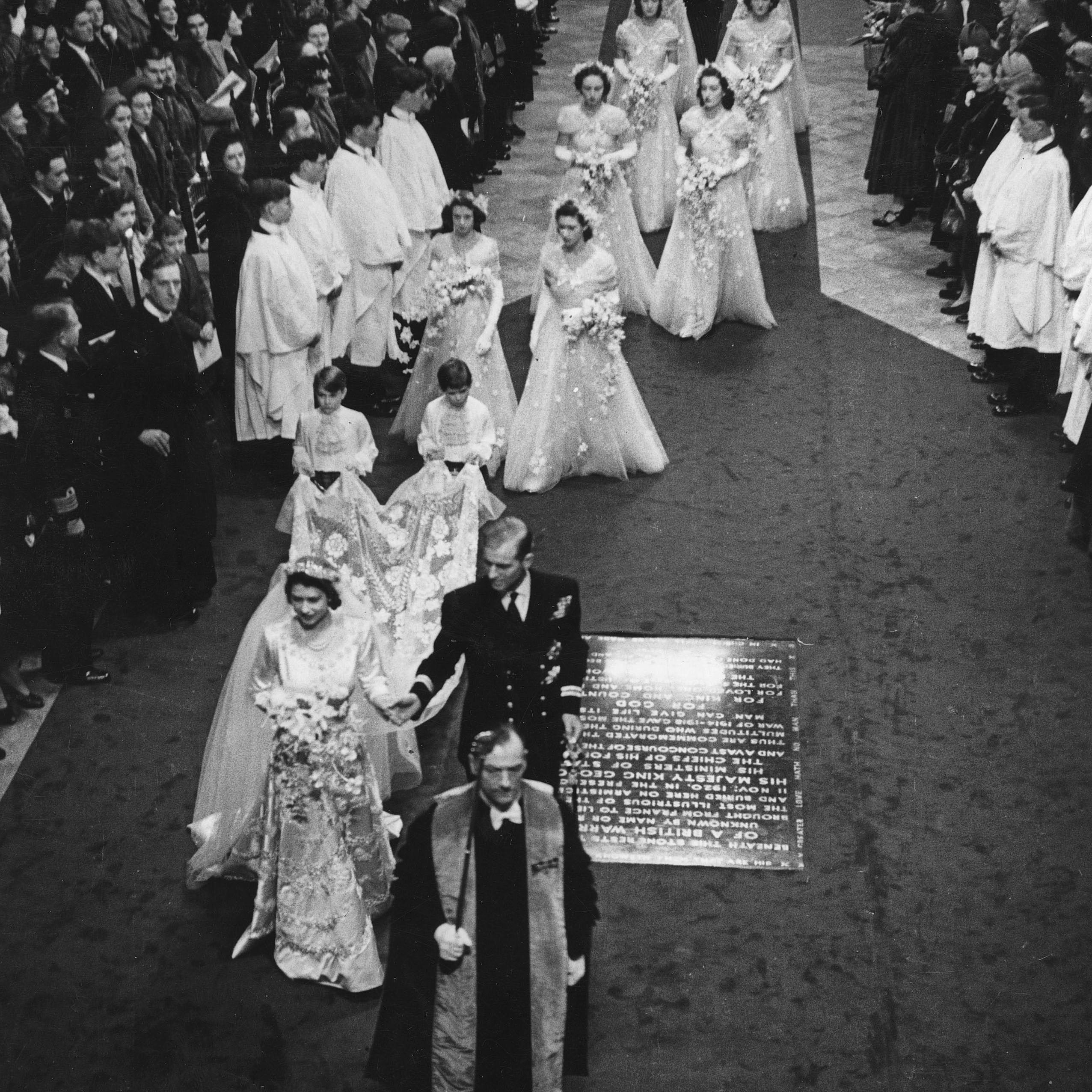 1947年ウェストミンスター寺院でのエリザベスとフィリップの結婚式