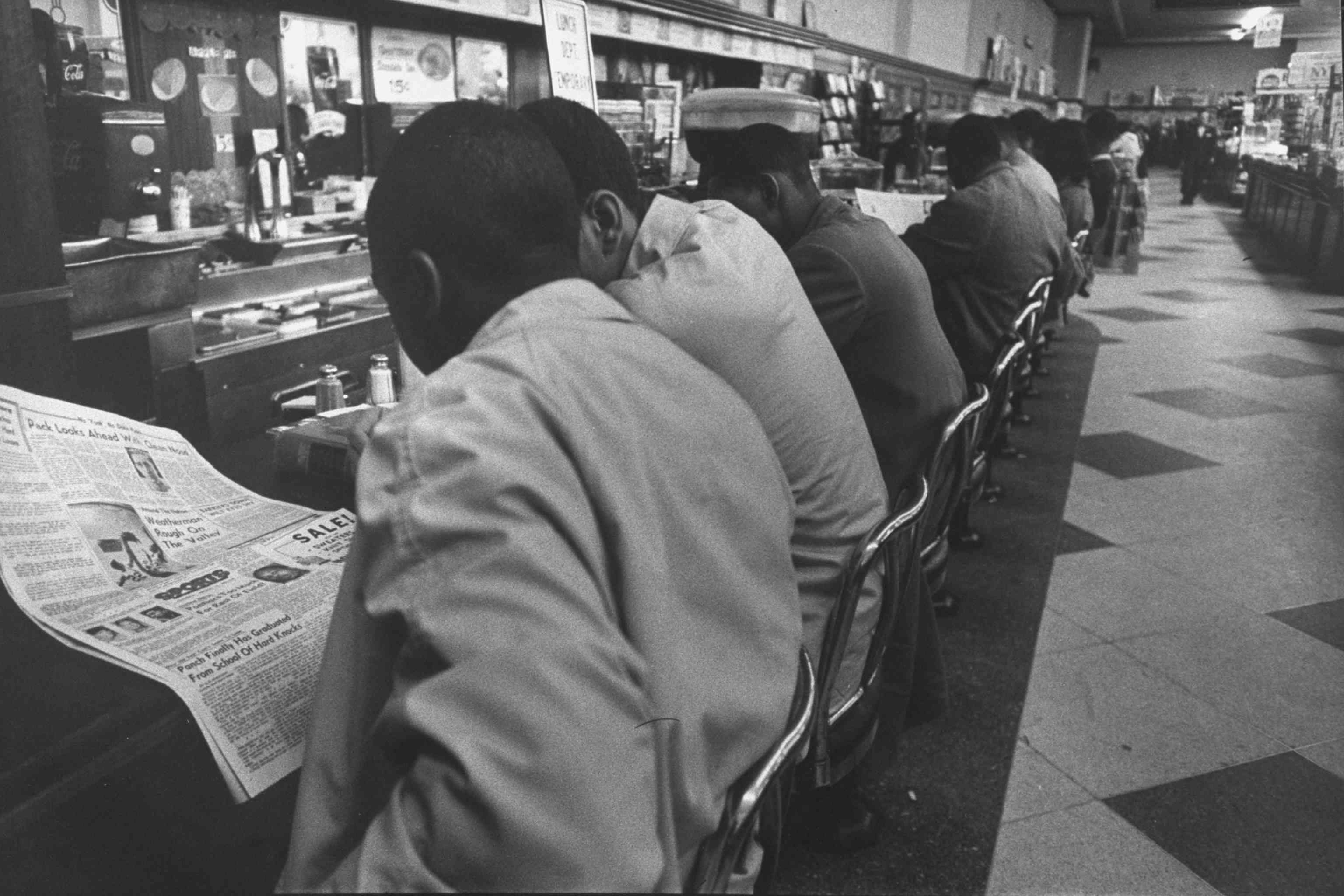 African Americans at Woolworth Store's lunch counter