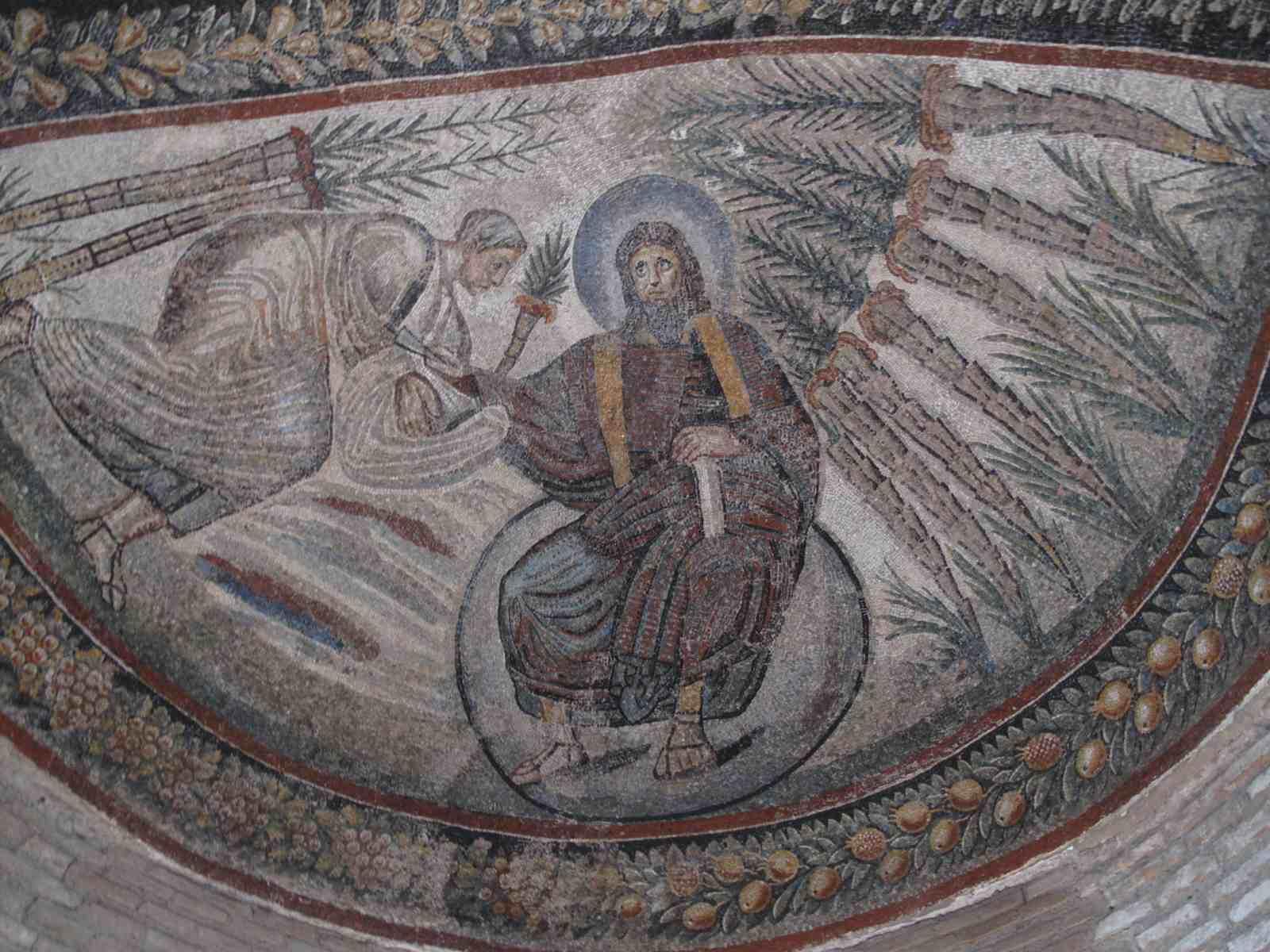 mosaïque 4ème siècle dans la voûte d'un mausolée construit sous Constantin le Grand pour sa fille Constantina (Costanza), mort en 354 après JC.