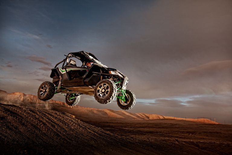 All terrain vehicle in mid-air