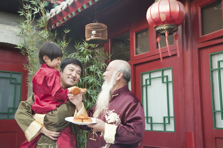 Chinese family sharing moon cake
