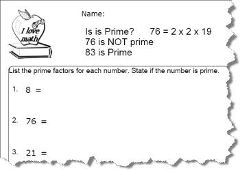 Prime Number Worksheet 1