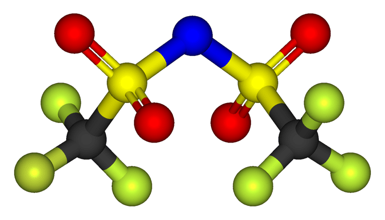 Ball-and-stick model of the bistriflimide anion