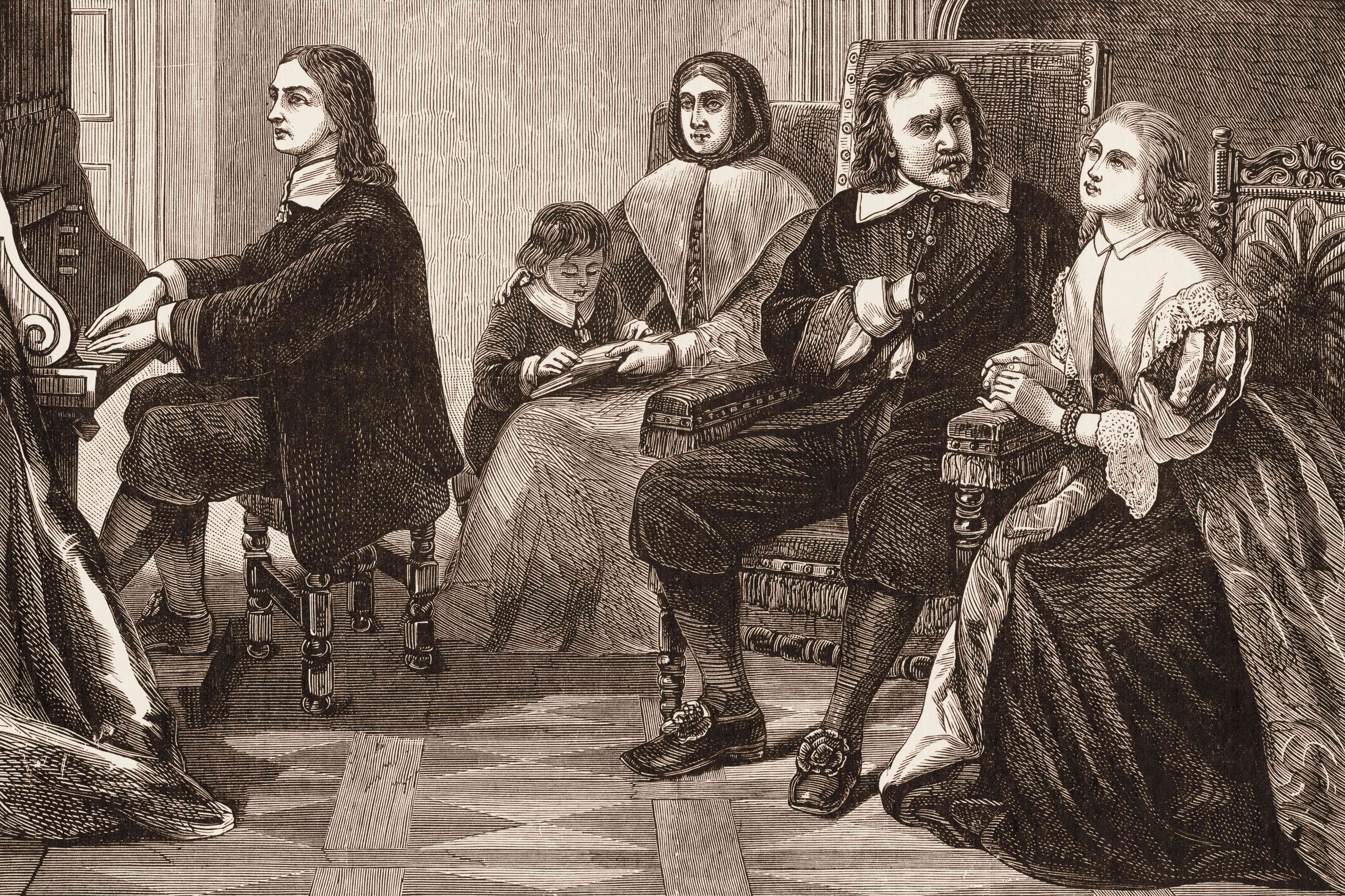 Engraving of Milton playing piano for Oliver Cromwell