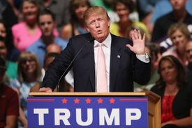 Donald Trump behind the podium at a campaign event