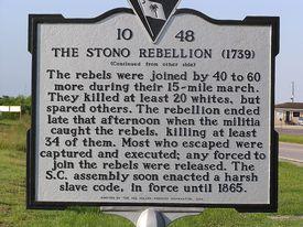 historical marker for the Stono Rebellion