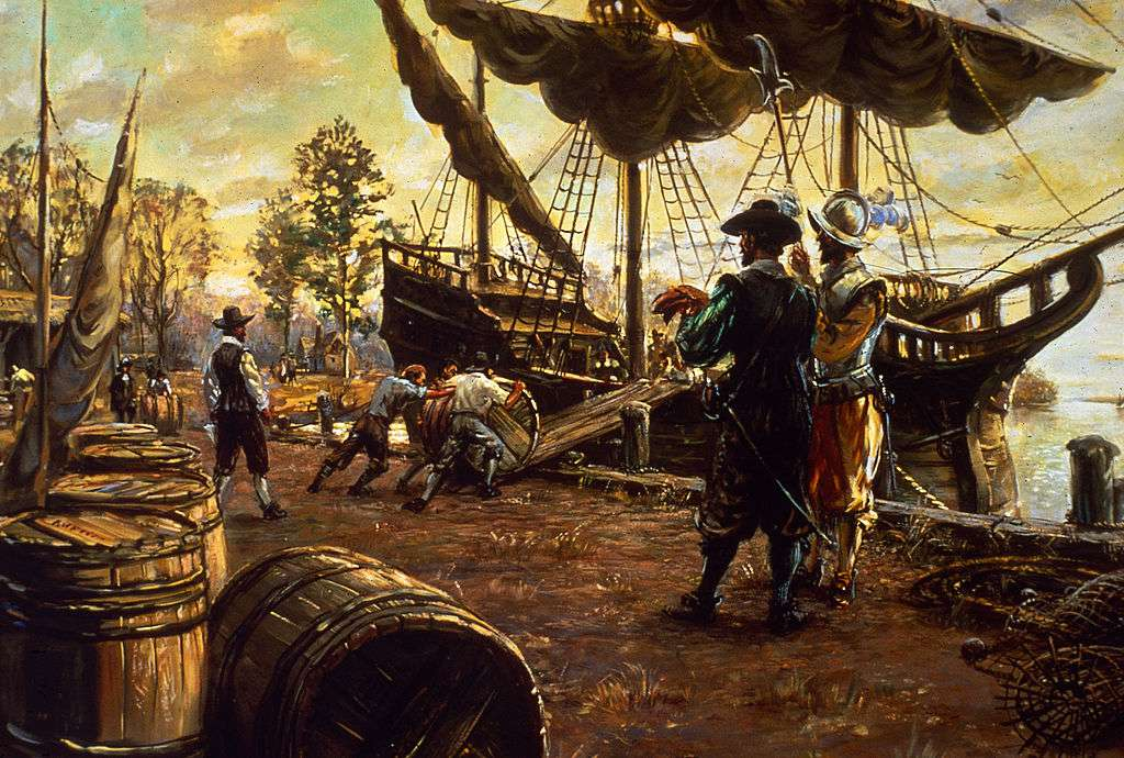 Settlers roll barrels of tobacco up a ramp and onto a ship in preparation for export, Jamestown, Virginia, 1615.