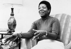 Portrait of Maya Angelou in a home setting