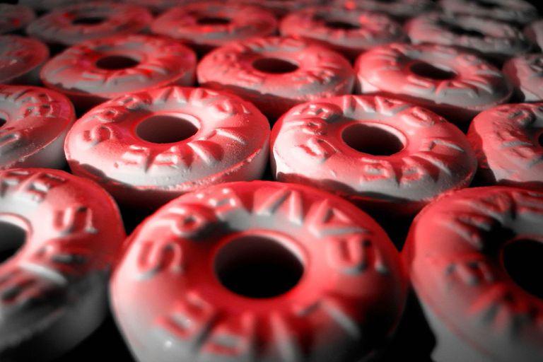 Close up of mint lifesavers