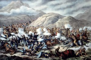 19th century lithograph depicting Custer's Last Stand