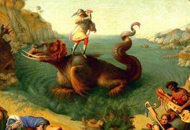 A Roman soldier swings his sword above a monster in swirling water.