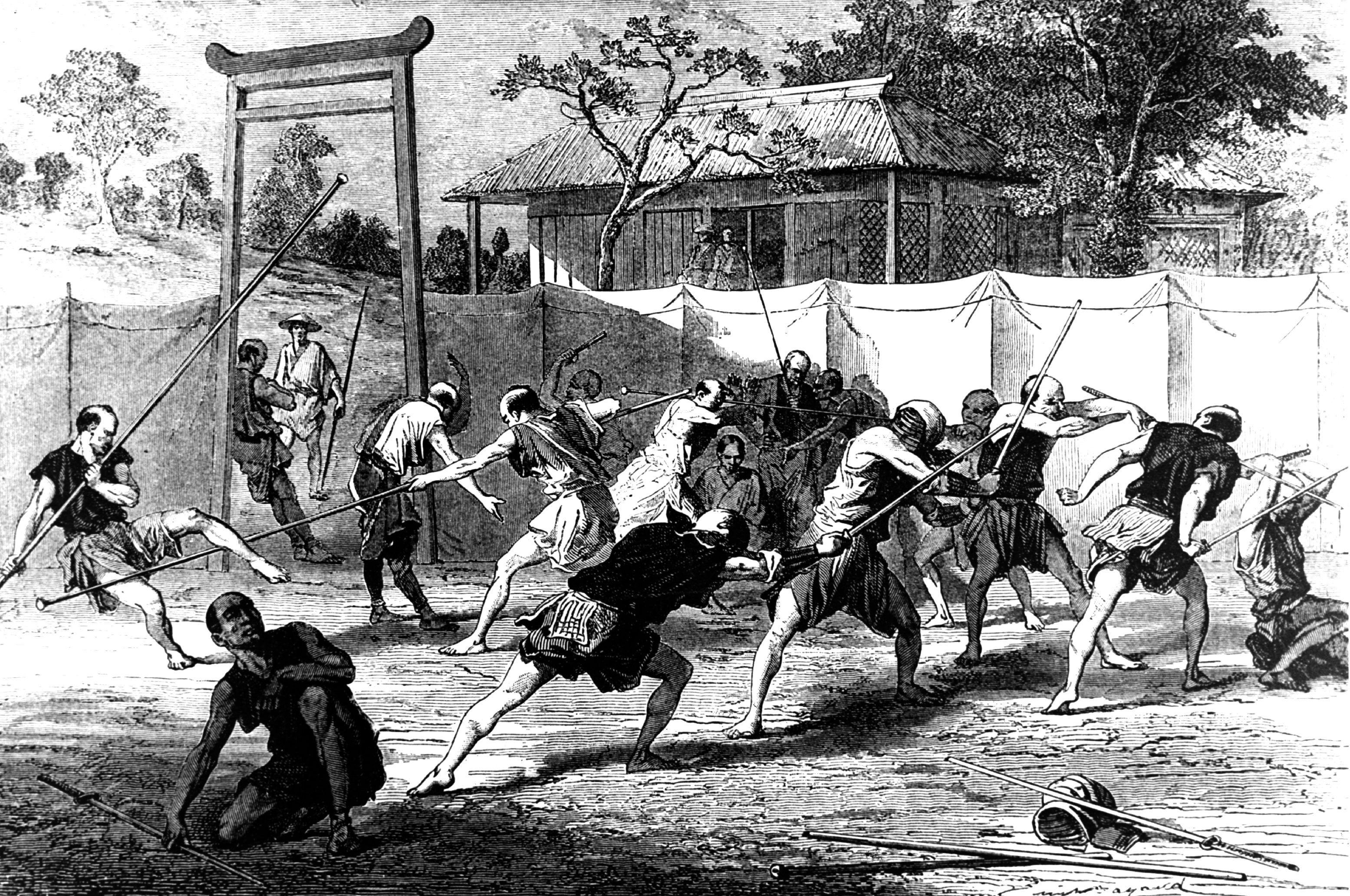 Illustration of samurai recruits training for the Satsuma Rebellion