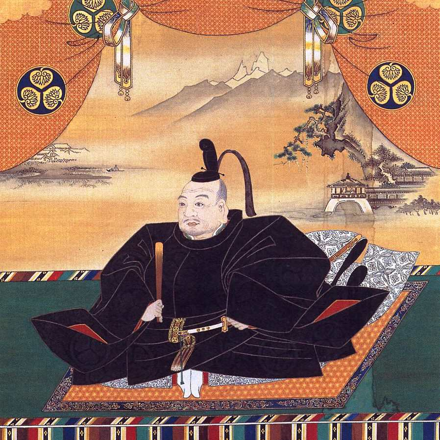 Painting of Tokugawa Ieyasu seated on a rug.