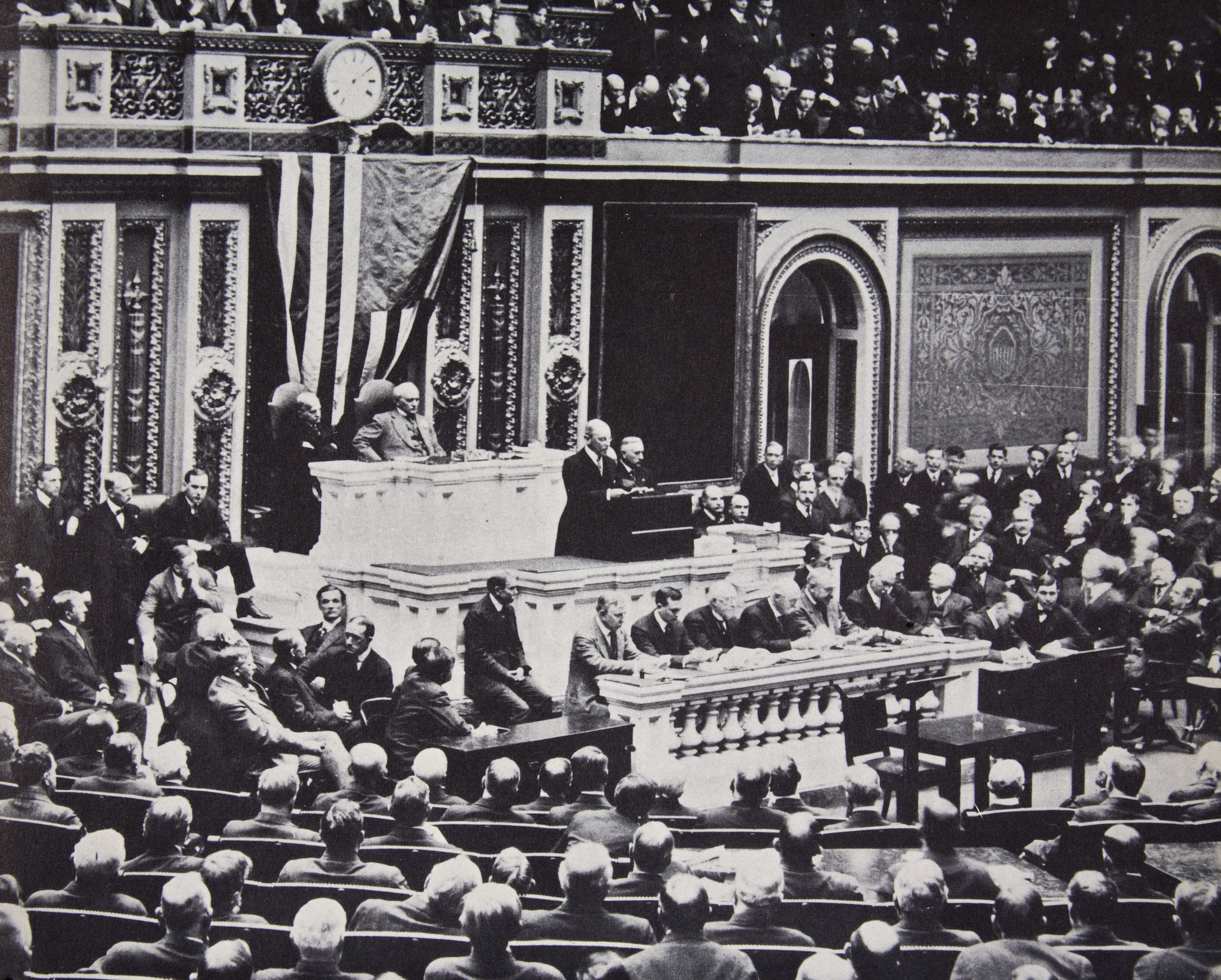President Wilson In Congress Recommending The US Enter The War Against Germany 1917