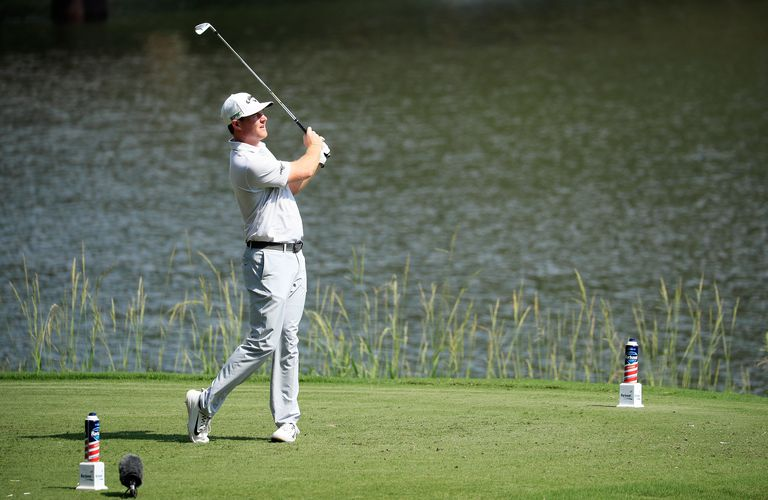 Grayson Murray plays his shot from the eighth tee during the third round of the 2017 Barbasol Championship.