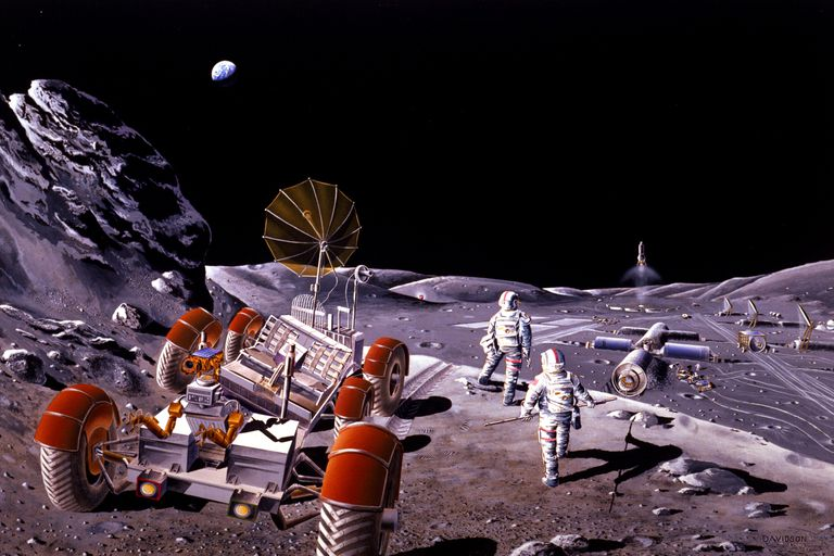Nasa artwork of a crew of astronauts on the moon with a rover