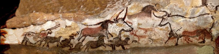 Upper Paleolithic drawings depicting steer at Lascaux.