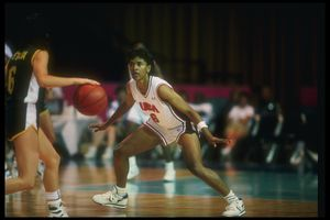 Lynette Woodard on defense wearing a USA jersey, 1990